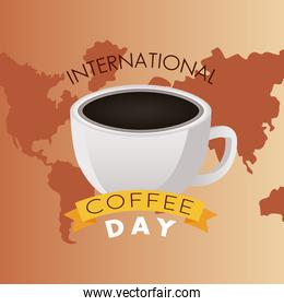 international coffee day celebration with cup and earth maps