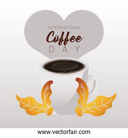 international coffee day celebration with cup and heart