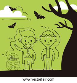 little kids with halloween costumes and bats flying