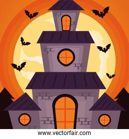 happy halloween celebration with haunted castle and bats flying at night scene