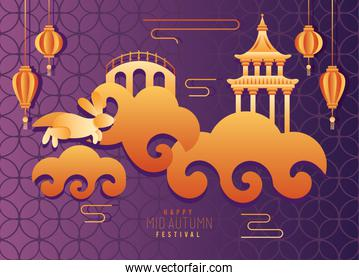 happy mid autumn festival poster with castle and lanterns hanging