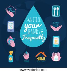 sanitize your hands frequently and hand washing icon set, flat style