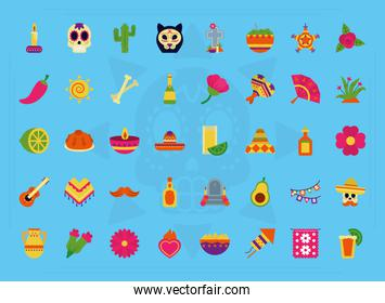 icon set of mexican day of dead, flat style