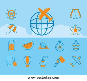 airplane and summer vacations icon set, half line half color style