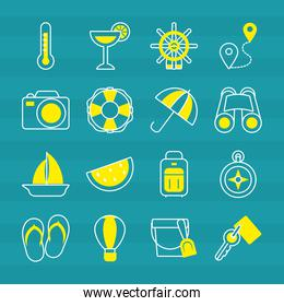 cocktail and vacations icon set, half line half color style