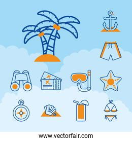 tropical palms and summer vacations icon set, half line half color style