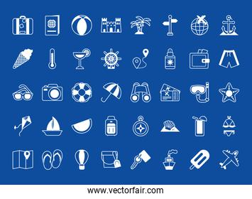 vacations icon set, silhouette style