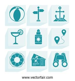 anchor and vacations icon set, silhouette style