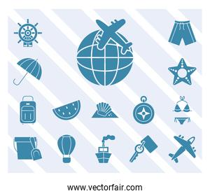 airplane and summer vacations icon set, silhouette style