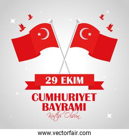 flag of turkey and doves in day 29 october