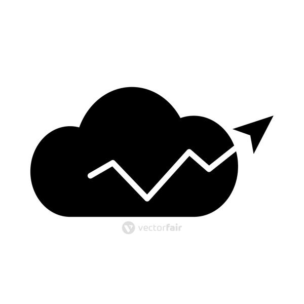 cloud with financial arrow up icon, silhouette style