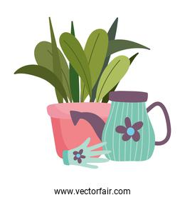 gardening, watering can potted plant and glove with flower