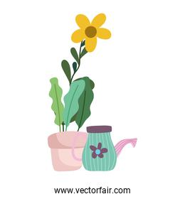 gardening, potted flower and watering can nature isolated icon style