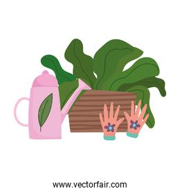 gardening, watering can gloves and potted plant nature isolated icon style