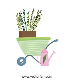 gardening, watering can wheelbarrow with plant nature isolated icon style