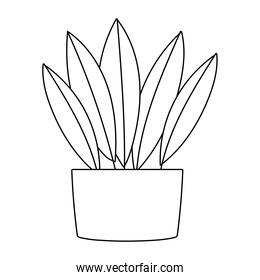 gardening, leaves plant in pot decoration isolated line icon style