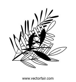 gardening, branches foliage leaves nature isolated line icon style