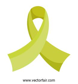 green ribbon awareness mental health isolated icon style