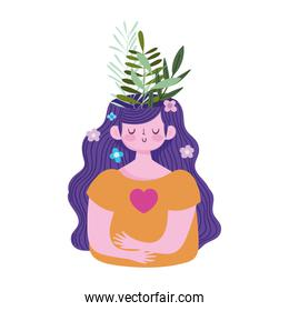 world mental health day, woman with foliage in head flowers