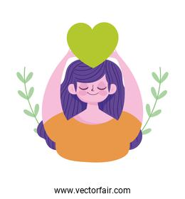 world mental health day, cartoon young woman with green heart