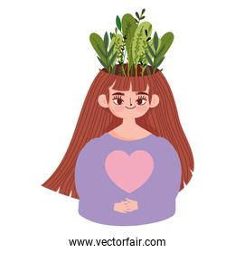 world mental health day, portrait woman with leaves in head