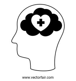 profile human head and brain heart isolated icon style