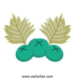 green fruits berries and leaf isolated icon design