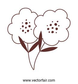 flowers stem nature decoration isolated icon design line style