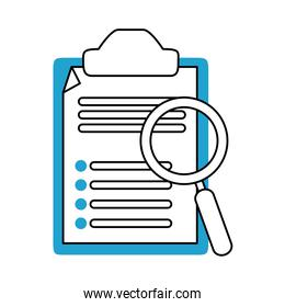 search icon, clipboard report document and magnifier blue line and fill