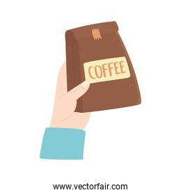 hand with package coffee product isolated icon style