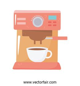 coffee machine espresso and cup isolated icon style
