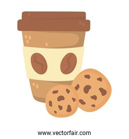 international day of coffee, paper takeaway cup and cookies