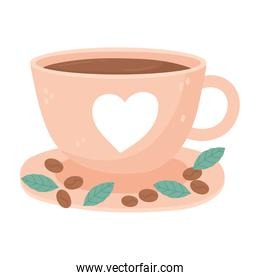 international day of coffee, cup with heart seeds and leaves