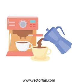 international day of coffee, machine cup and kettle pouring beverage