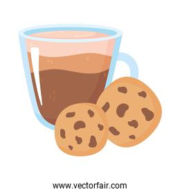 international day of coffee, glass cup and cookies isolated design