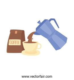 international day of coffee, kettle pouring on cup and package product isolated design