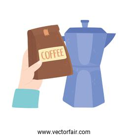 international day of coffee, hand holding package and moka pot