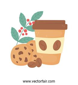 international day of coffee, paper takeaway cup cookies and branch seeds
