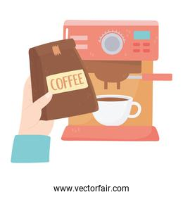 international day of coffee, hand with package cup and machine