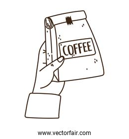 hand with package coffee product line icon style
