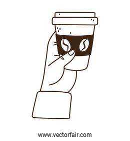 hand with disposable cup coffee line icon style