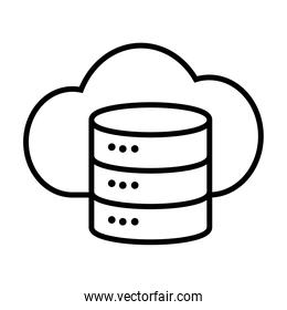 data server and cloud storage icon, line style