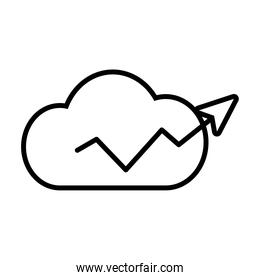 cloud with financial arrow up icon, line style