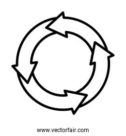 circular arrows chart icon, line style