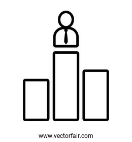 graphic bar chart with pictogram businessman icon, line style