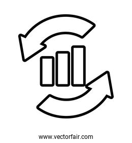 circular arrows and graphic bar chart icon, line style