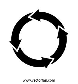 circular arrows chart icon, silhouette style