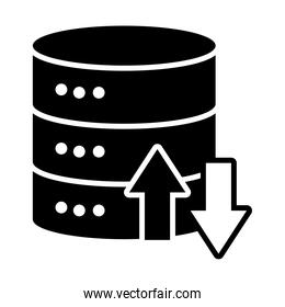 data server with upload and dowload arrows, silhouette style