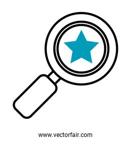 magnifying glass with star icon, half line half color style