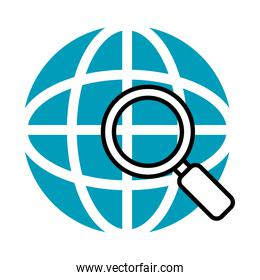 global sphere with magnifying glass icon, half line half color style